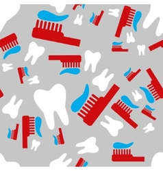 tooth and toothbrush seamless pattern vector image