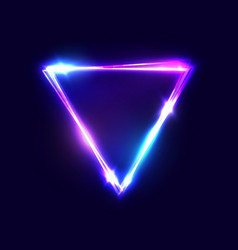 triangle background neon sign with light effects vector image