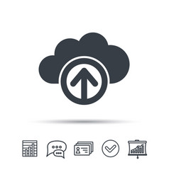 Upload from cloud icon data storage sign vector