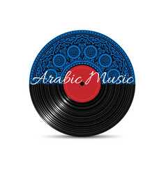 vinyl disk record with blue mandala vector image