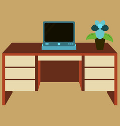 Workplace desk computer plant top angle view flat vector