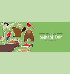 World animal day banner cute wildlife stickers vector
