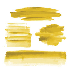 Yellow gold watercolor shapes brush strokes vector
