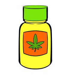 bottle with buds of marijuana icon cartoon vector image