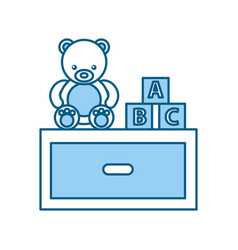 Cute bear teddy with nightstand vector