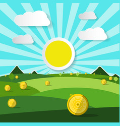 empty field natural scene with sun and clouds vector image vector image