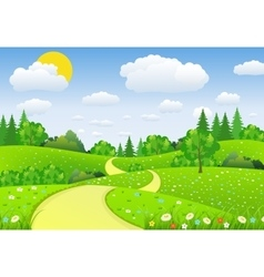 Green Landscape with trees clouds flowers vector image vector image