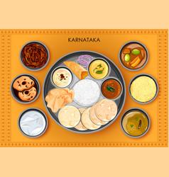 traditional karnatakan cuisine and food meal thali vector image vector image