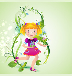 girl with spring flowers vector image
