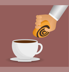 hand with coffee cup bread dessert vector image