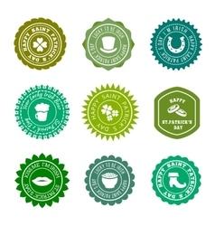Saint Patricks Day vintage green badges vector image vector image