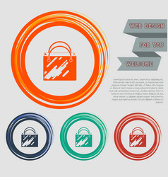 shopping bag icon on the red blue green orange vector image
