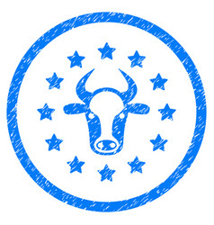 Starred bull rounded grainy icon vector