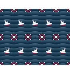 Steering wheels and boats on navy background vector image vector image