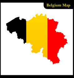 the detailed map of the belgium with national flag vector image