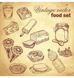 Vintage hand-drawn food set vector