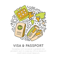 visa and passport travelling icon set in hand draw vector image