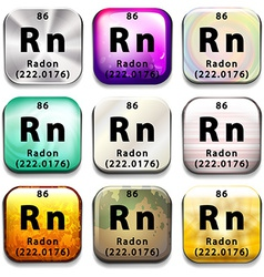 A periodic table showing Radon vector image vector image