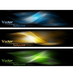 Abstract glowing banners collection vector