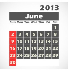 Calendar 2013 June vector image