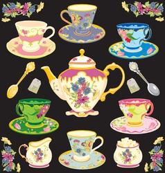 fancy victorian style tea set vector image