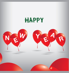 happy new year to red balloons on grey background vector image vector image