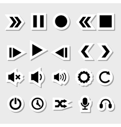 Player Icons Set as Labels vector image vector image