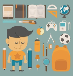Student and tool flat design vector image
