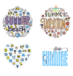 summer beach and vacation set of summer colored vector image