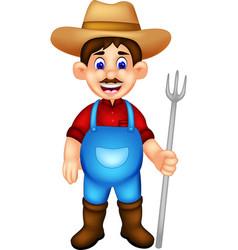 handsome farmer cartoon standing bring fork vector image