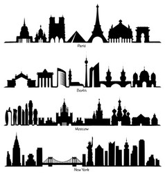 set of skyline silhouette vector image