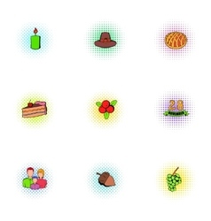 Thanksgiving day icons set pop-art style vector