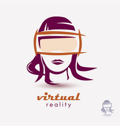 womans head in vr glasses icon stylized logo vector image vector image