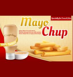 3d realistic ad poster - mayochup sauce vector image