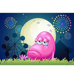 A problematic pink monster near the carnival vector image