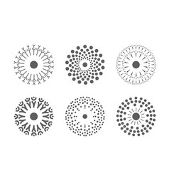 Abstract dandelion flowers symbol with seeds set vector