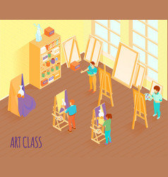 art class isometric vector image