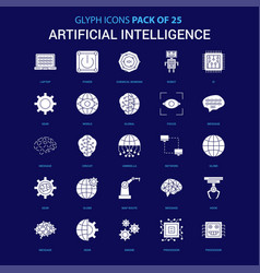 Artificial intelligence white icon over blue vector