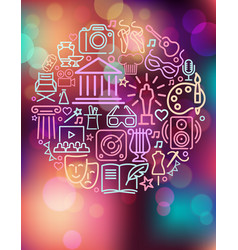 arts and entertainment icos on colorful vector image