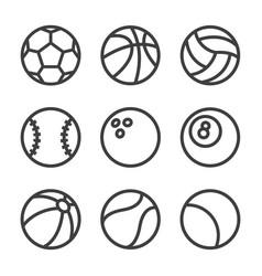 Balls lines icons set vector