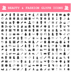 Beauty and fashion industry glyph icons big set vector