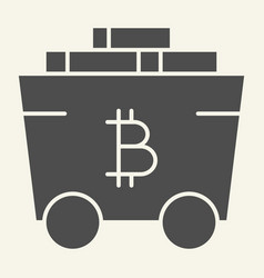 bitcoin mining cart solid icon crypto carriage vector image
