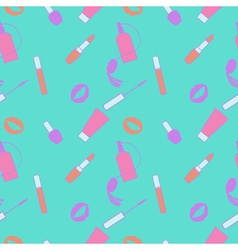 Blue and pink makeup seamless pattern for momen vector