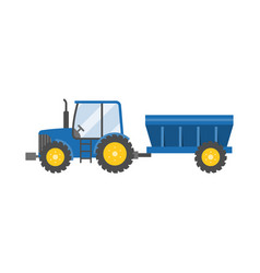 blue tractor with tank for transportation vector image
