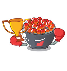 Boxing winner salmon roe with isolated on mascot vector