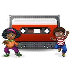 Boy and girl with casette tape vector