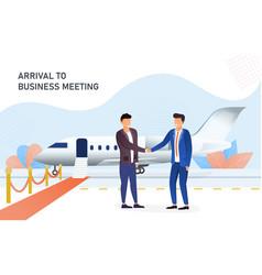 Businessmen shaking hands in airport vector