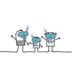 Cartoon family and scuba diving vector