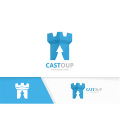 Castle and arrow up logo combination tower vector