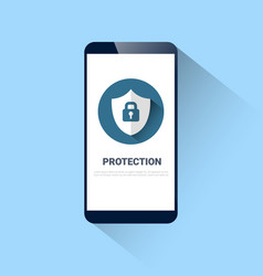 cell smart phone with lock on shield icon vector image